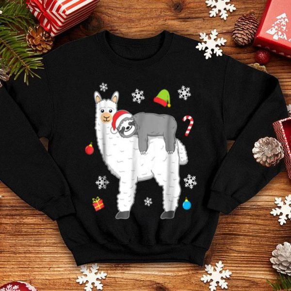Original Christmas Funny Fluffy Animal Sloth Riding Llama shirt