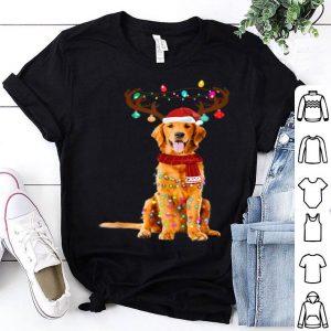 Premium Cute Golden Retriever Christmas Lights Reindeer Pajamas sweater