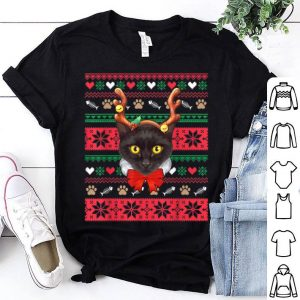 Top Black Cat Reindeer Ugly Christmas Sweater-Christmas Pajamas shirt