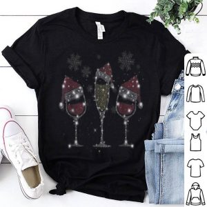 Top Drink wine diamond Santa hat Merry Christ shirt
