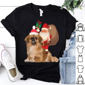 Top Santa Riding Pekingese Christmas Pajama Gift shirt