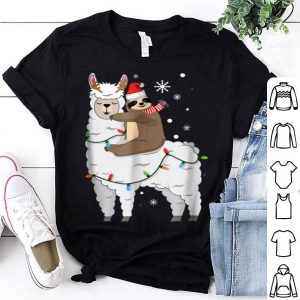 Top Sloth Riding Llama Cute Christmas shirt