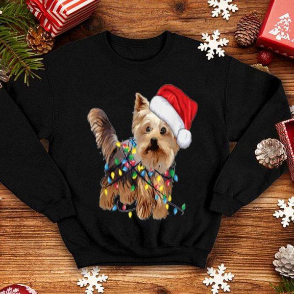 Top Yorkie Tree Christmas Santa Hat Light Xmas Tree Gift shirt
