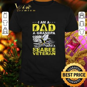 Cool Bee i am a dad a grandpa and a seabee veteran shirt