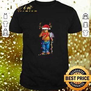 Cool Smokey Bear santa reindeer Christmas light shirt