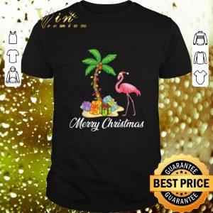 Nice Flamingo Merry Christmas Palm Tree shirt