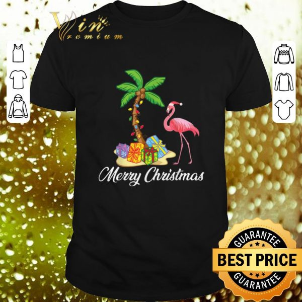 Nice Flamingo Merry Christmas Palm Tree shirt