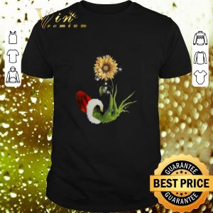 Nice Grinch Santa hand holding sunflower shirt