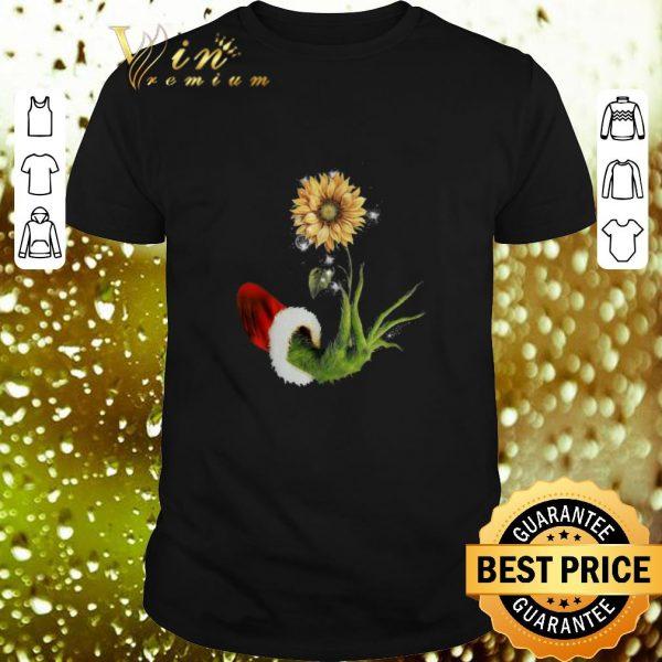 Nice Grinch Santa hand holding sunflower shirt