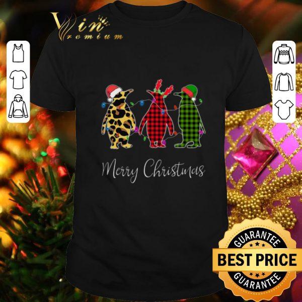 Nice Penguin Merry Christmas leopard plaid shirt