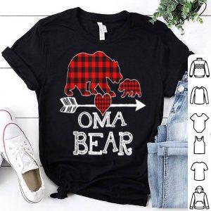 Nice Red Plaid Oma Bear One Cub Matching Buffalo Pajama Xmas sweater