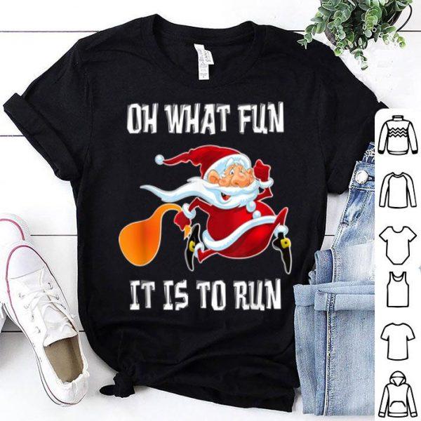 Premium Oh What Fun It Is To Run Funny Christmas Santa Running Gift sweater