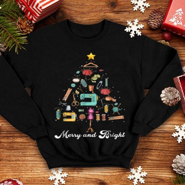 Pretty Merry and Bright Sewing Yarn Quilting Christmas Tree sweater