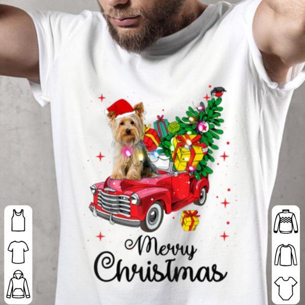 Pretty Yorkies Ride Red Truck Christmas Pajama sweater