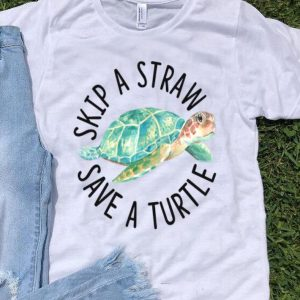 Skip A Straw Save A Turtle Watercolor Sea Turtle shirt