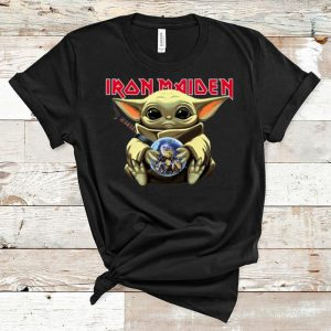 Official Star Wars Baby Yoda Hug Iron Maiden shirt