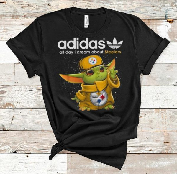 Top Baby Yoda Adidas All Day I Dream About Steelers shirt