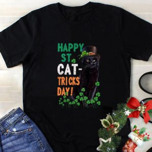 Nice Happy St Cat-Tricks day St. Patrick day black cat shirt