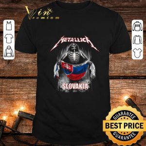 Nice Skeleton Metallica mashup Slovakia flag shirt