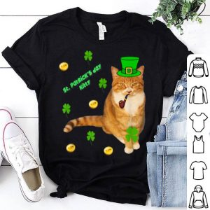 Pretty Orange Tabby Cat Leprechaun Irish St. Patrick's Day shirt