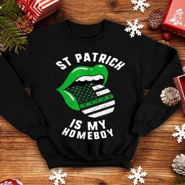 Pretty St Patrick Is My Homeboy Green Lips Usa Flag Shamrock Day shirt