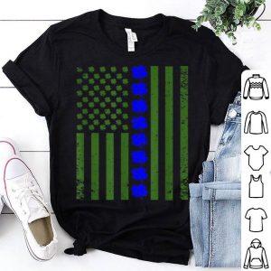 Beautiful Thin Blue Line Flag Irish American St Patricks Day shirt