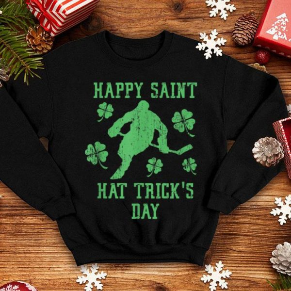 Nice Happy Saint Hat Trick's Day St Patricks Day Funny Ice Hockey shirt