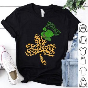 Nice Happy St Patricks Day Leopard Shamrock shirt