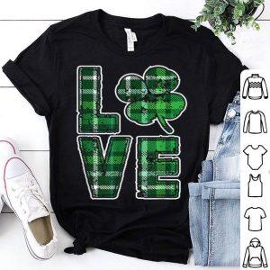 Premium Love Ireland - Green Plaid Shamrock - St Patrick's Day shirt