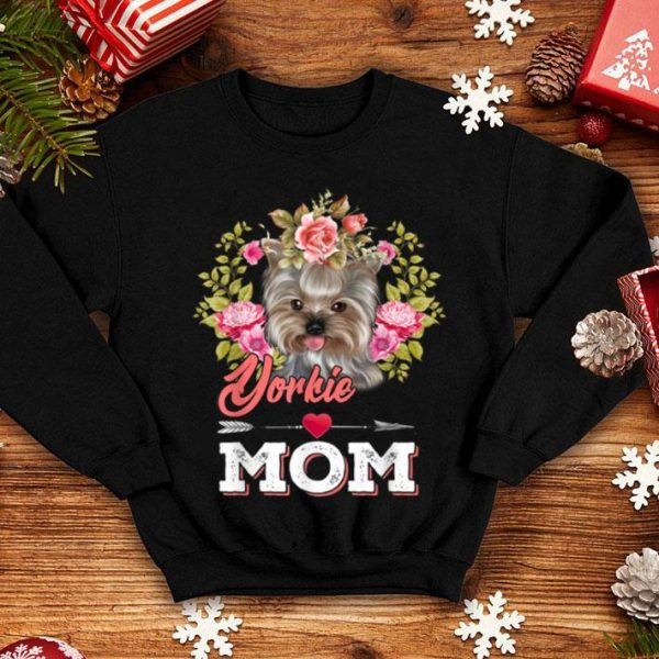 Premium Yorkie Mom Floral Heart With Arrow Mother's Day Gift shirt