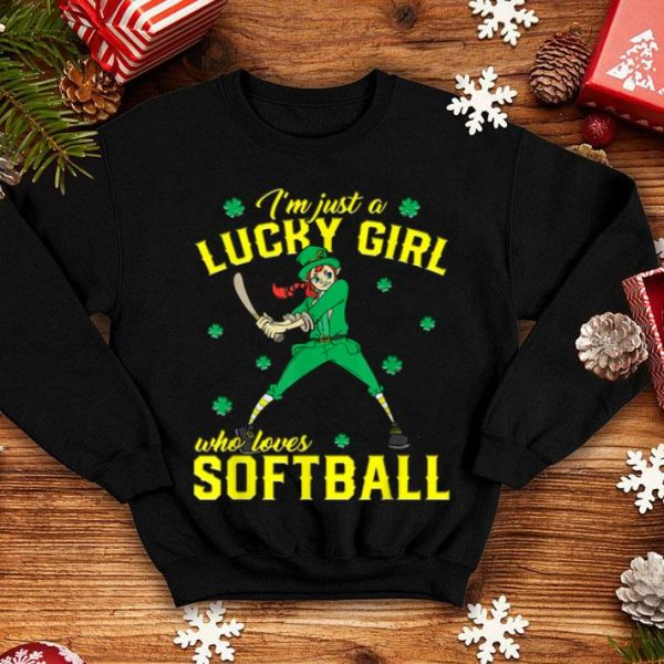 Top Just A Girl Who Loves Softball St Patrick's Day shirt