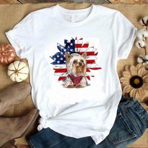 Premium Yorkshire Terrier American Flag Daisy Flower shirt