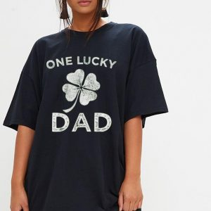 One Lucky Dad - St Patricks day retro father shirt 2
