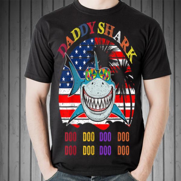 Father's Day Hawaii Daddy Shark America Flag shirt
