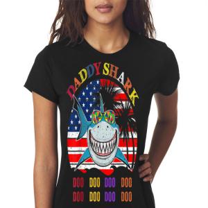 Father's Day Hawaii Daddy Shark America Flag shirt 2
