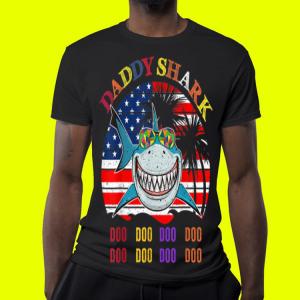 Father's Day Hawaii Daddy Shark America Flag shirt 3