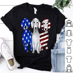 3 Dachshund Doxie Patriotic US American Flag July 4th shirt