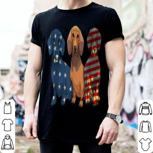 3 Dachshund Patriot American Flag July 4th shirt
