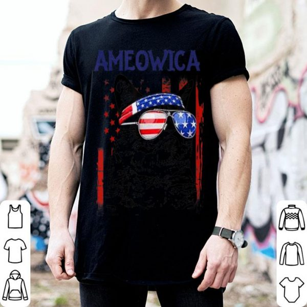 4th Of July Meowica Cat American Flag Glasses American Flag shirt