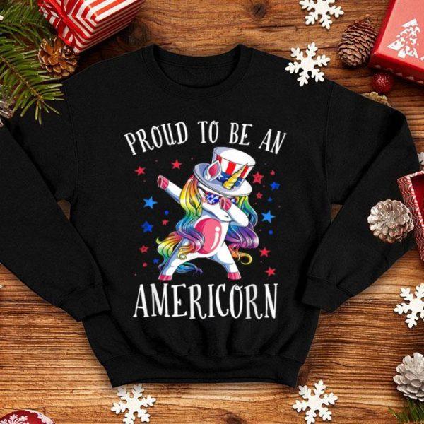 4th Of July Unicorn Dab Proud To Be An Americorn shirt