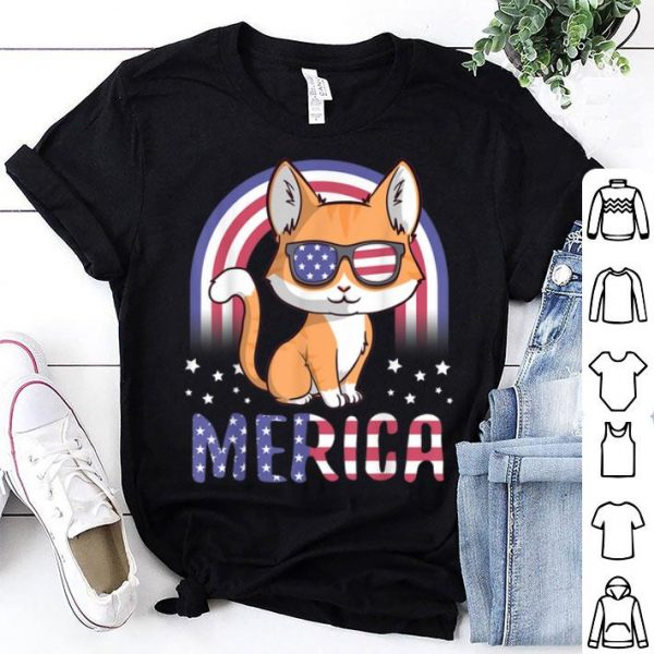 4th of July Merica Cat Patriotic USA Flag shirt