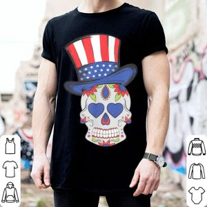 4th of July Sugar Skull wearing Uncle Sam Hat American Flag shirt