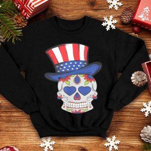 4th of July Sugar Skull wearing Uncle Sam Hat American Flag shirt