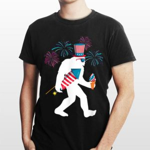Bigfoot Fireworks 4th of July American Ice Cream Independence Day shirt
