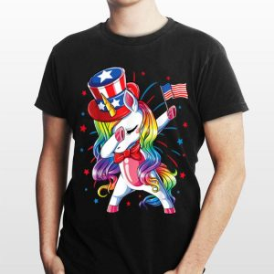 Dabbing Unicorn 4th of July American Flag shirt