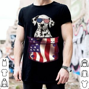 Dalmatian In Pocket American Flag 4th July American Flag shirt