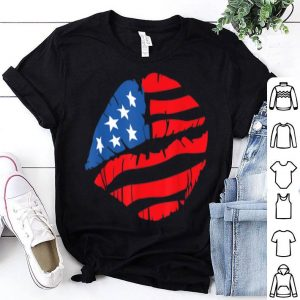 Kiss America USA Flag 4th Of July Lips shirt