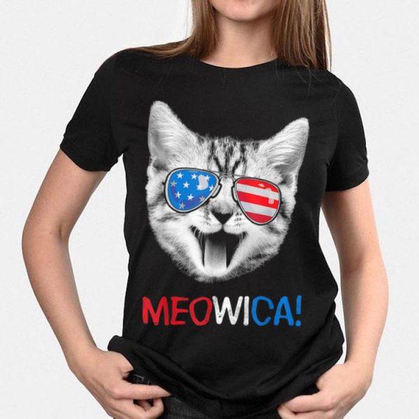 Meowica 4th Of July Cat USA Flag Sunglass American shirt