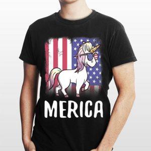 Merica Unicorn Patriotic USA Flag 4th of July American Cute shirt
