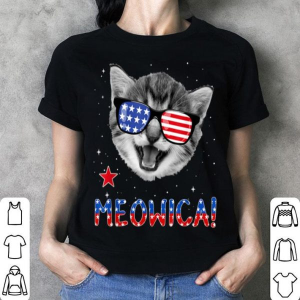 Patriotic Cat 4th of July Meowica American Flag shirt